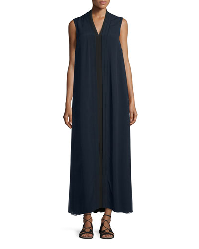 Pleated Sleeveless Crepe Gown, Black/Navy