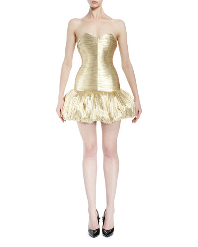 Sweetheart-Neck Bustier Mini Dress, Gold Metallic