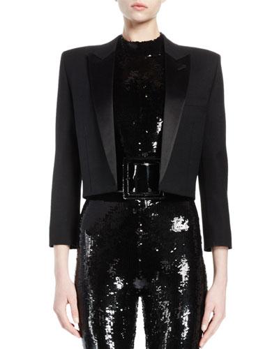 Structured-Shoulder Spencer Jacket, Black