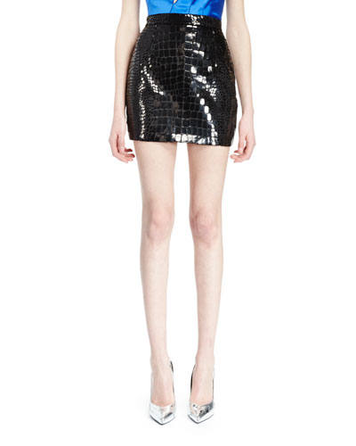 Crocodile-Effect Mini Skirt, Black