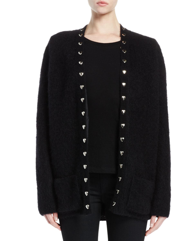 Sweetheart Stud-Trim Oversized Sweater, Black