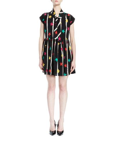 Cap-Sleeve Tie-Neck Star-Print Dress, Black/Multi