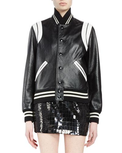 Snap-Front Leather Bomber Jacket, Black/White
