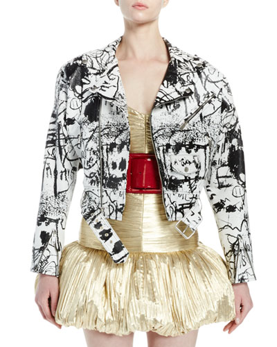 Graffiti Leather Belted Moto Jacket, White/Black