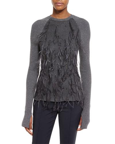 Ostrich-Feather Crewneck Sweater, Dark Flint Melange
