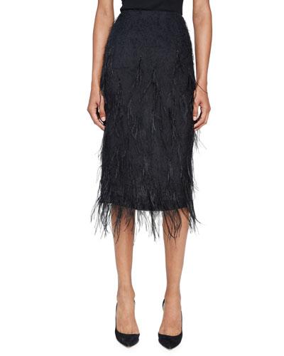 Ostrich-Feather Pencil Midi Skirt, Black