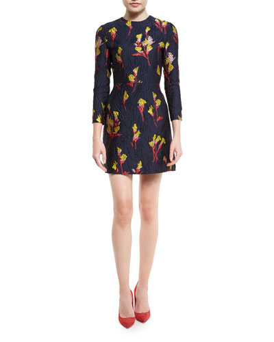 Floral-Jacquard 3/4-Sleeve Dress, Dark Topaz/Multi