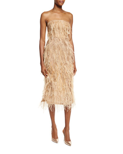 Ostrich-Feather Strapless Cocktail Dress, Camel