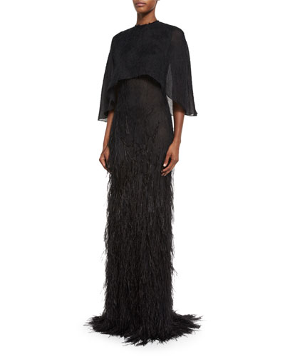 Feather-Embellished Cape Gown, Black