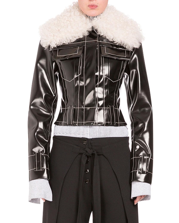 Faux-Shearling Moto Jacket, Black