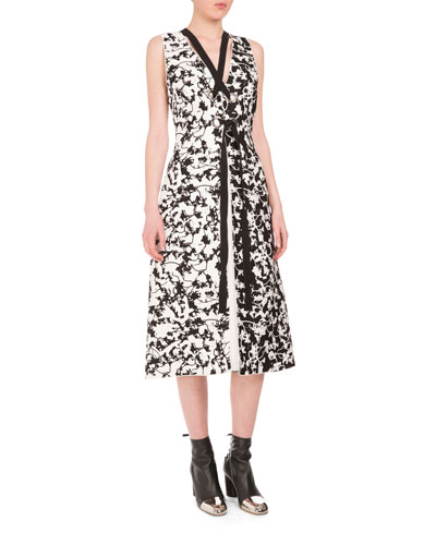 Sleeveless Vine-Print A-Line Dress, Black/Off White
