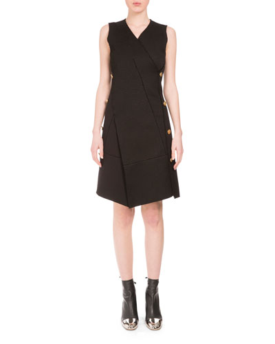 Sleeveless V-Neck Side-Button Dress, Black