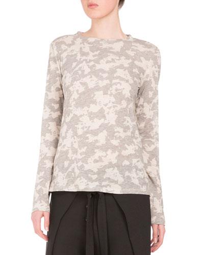 Floral Long-Sleeve Crewneck Tee, Gray/White