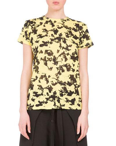 Floral Short-Sleeve Crewneck Tee, Yellow/Black Floral