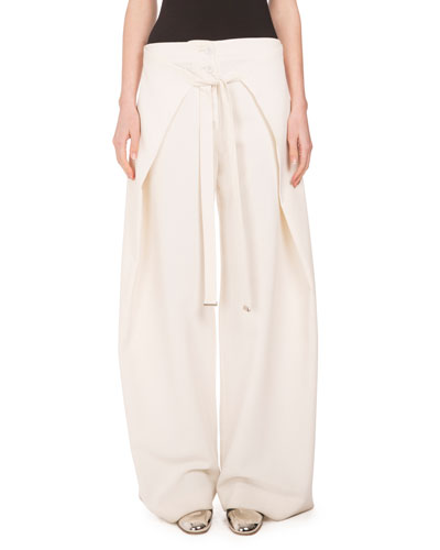 Wide-Leg Wrap-Front Trousers, Off White