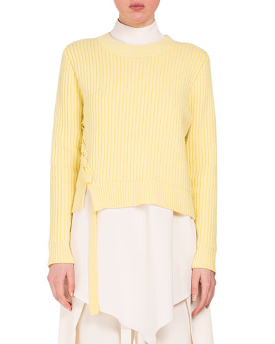 Cropped Sweater W/Lace-Up Sides, Sun Yellow