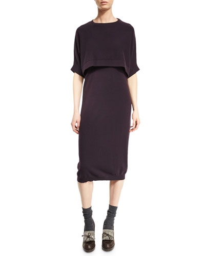 Cashmere Sleeveless Dress with Capelet, Viola