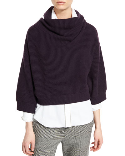 Ribbed Turtleneck Cropped Sweater, Viola