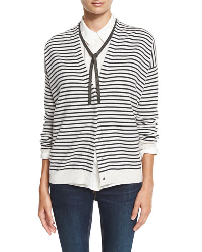 Monili-Tie Striped Cardigan, Grainy White/Onyx