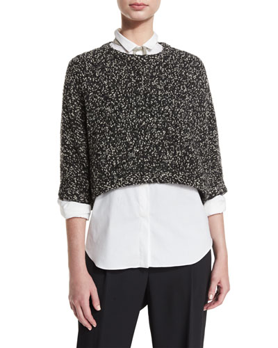 Cropped Boucle Paillette Sweater, Onyx