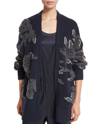 Piuma Floral Beaded Cardigan, Navy