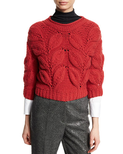 Piuma-Leaf 3/4-Sleeve Sweater, Poppy