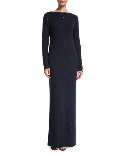 Long-Sleeve Paillette V-Back Dress, Navy