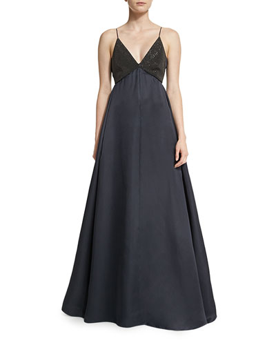 Sequined Camisole Ball Gown, Volcano