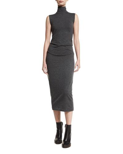 Ruched Sleeveless Turtleneck Midi Dress, Charcoal