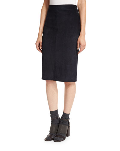 Suede Pencil Skirt, Navy