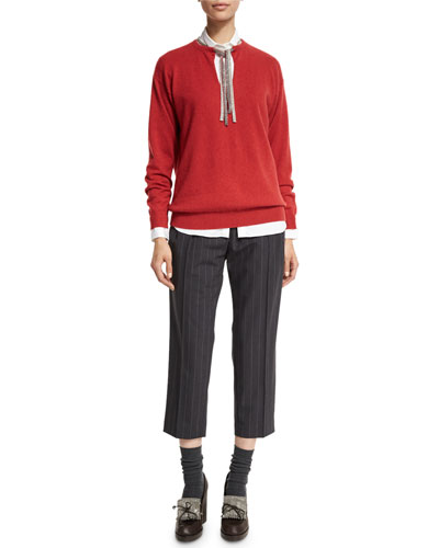 Belted Pinstripe Cropped Pants, Onyx