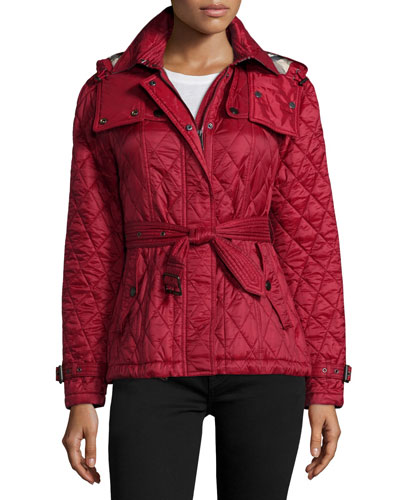 Finsbridge Hooded Quilted Short Jacket, Dark Crimson