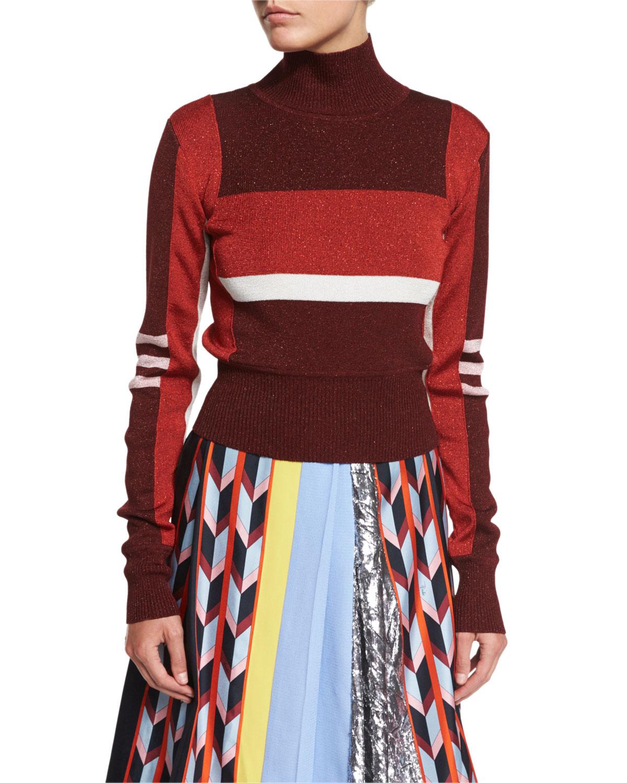 Colorblock Turtleneck Sweater, Red
