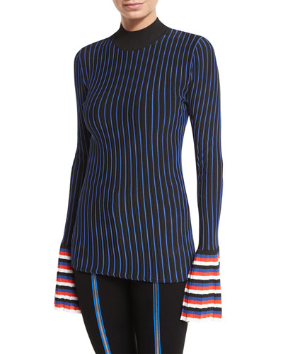 Striped Crewneck Pullover Sweater, Nero