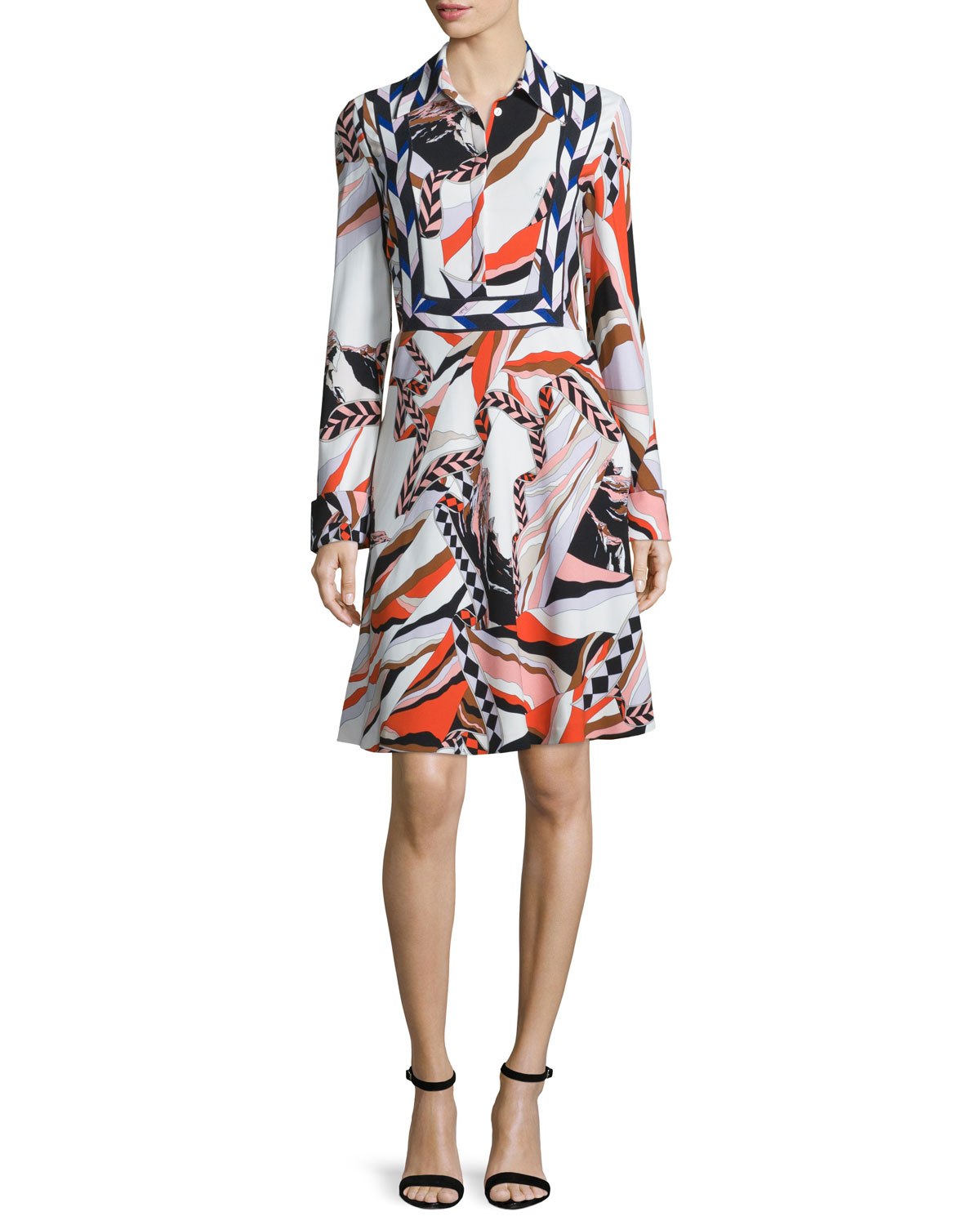 Montagne Long-Sleeve Dress, Multicolor