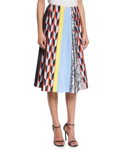 Printed Pleated Midi Skirt, Nero/Multi