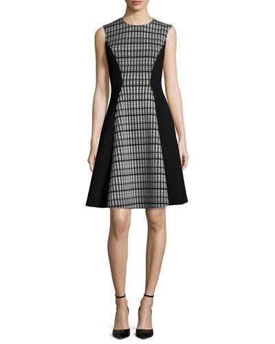 Linear Organza Sleeveless Dress, Black/Ivory