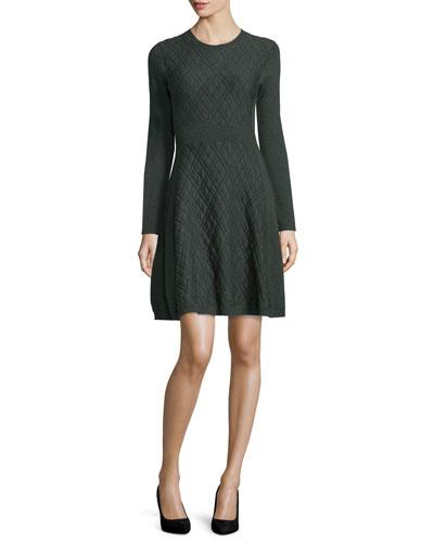 Jacquard Long-Sleeve Full-Skirt Dress, Olive