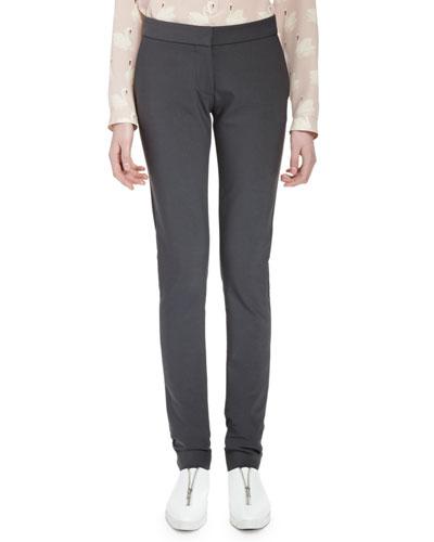 Straight-Leg Stretch-Cotton Pants, Smoke