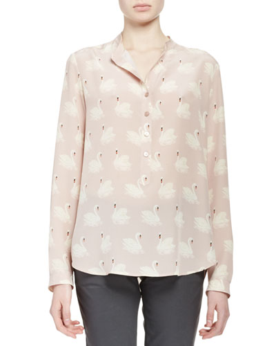 Estelle Swan-Print Blouse, Dusted Pink