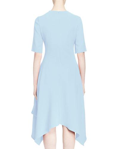 Half-Sleeve Handkerchief-Hem Dress, Light Blue