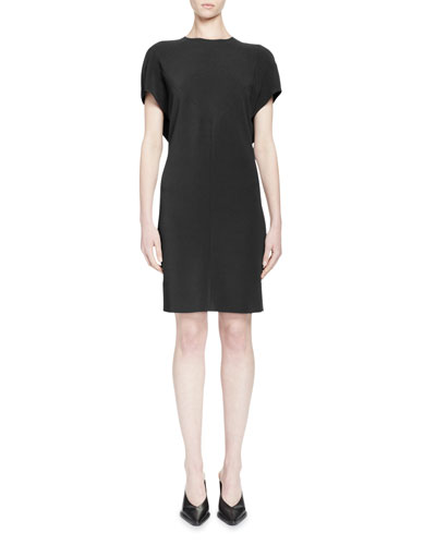 Short-Sleeve Draped-Back Dress, Black