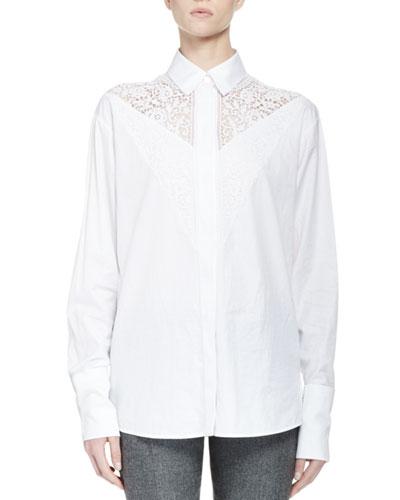 Poplin Lace-Yoke Button-Down Top, White