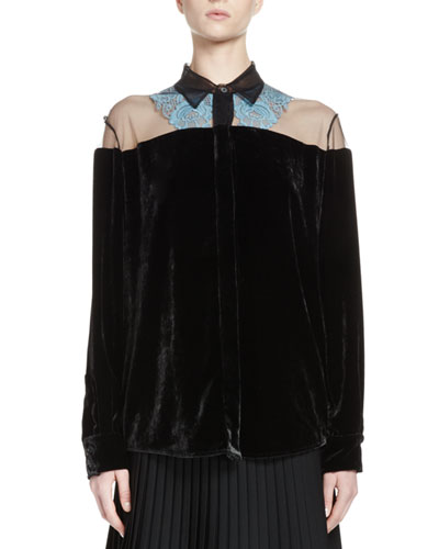 Carolina Tulle Illusion Velvet Blouse, Black