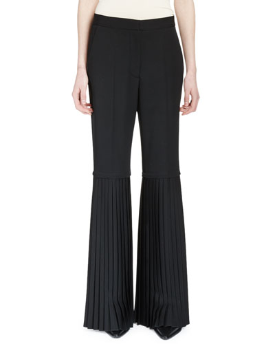 Tailored Pleat-Trimmed Wool Pants, Black