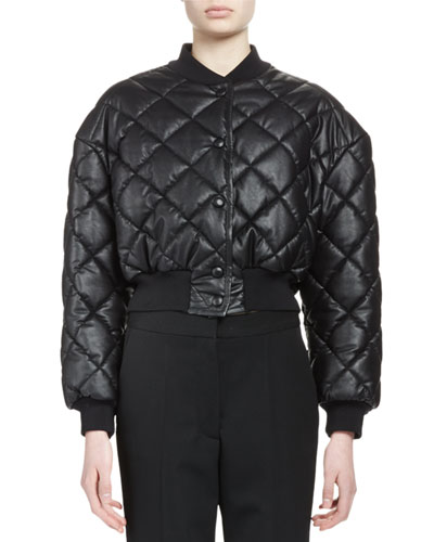 Quilted Faux-Leather Bomber Jacket, Black