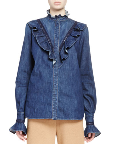 Ruffled Denim Blouse, Dark Classic Blue