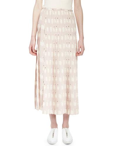 Swan-Print Plisse Midi Skirt, Dusted Rose
