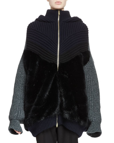 Knit Faux-Fur Zip-Front Hoodie Sweater, Ink