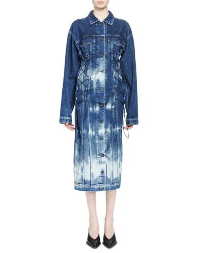 Tie-Die Denim Bungee Cord Dress, Bluette